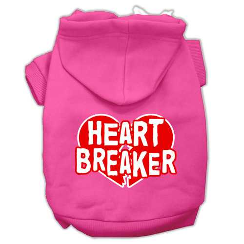 Heart Breaker Screen Print Pet Hoodies Bright Pink Size Sm (10)