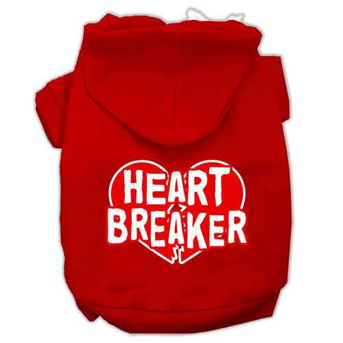 Heart Breaker Screen Print Pet Hoodies Red Size XXXL (20)