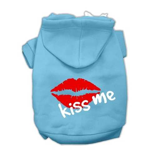 Kiss Me Screen Print Pet Hoodies Baby Blue Size Lg (14)