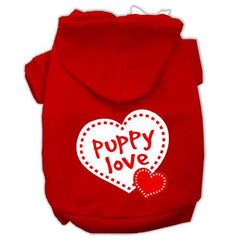 Puppy Love Screen Print Pet Hoodies Red Size Sm (10)