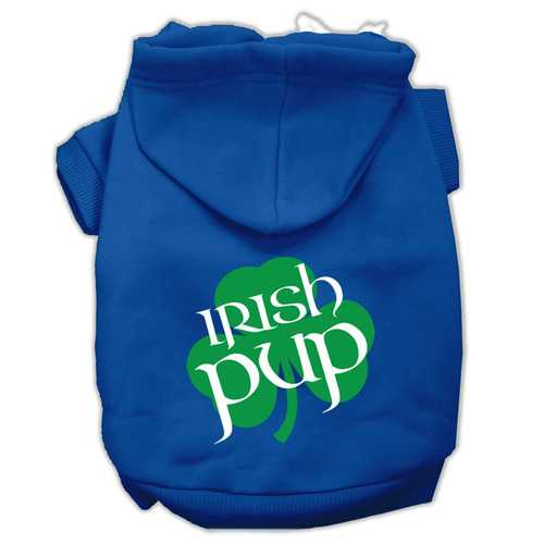 Irish Pup Screen Print Pet Hoodies Blue Size XS (8)