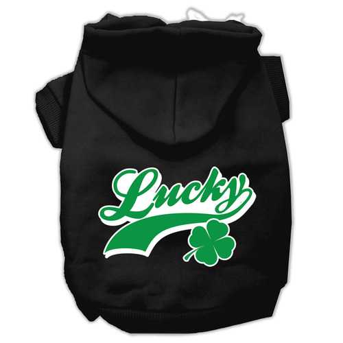 Lucky Swoosh Screen Print Pet Hoodies Black Size Med (12)