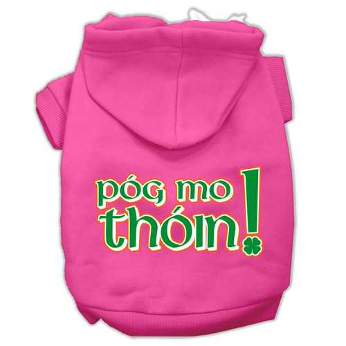 Pog Mo Thoin Screen Print Pet Hoodies Bright Pink Size Lg (14)
