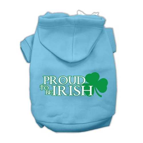 Proud to be Irish Screen Print Pet Hoodies Baby Blue Size Lg (14)