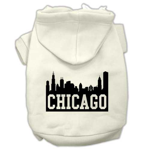 Chicago Skyline Screen Print Pet Hoodies Cream Size XL (16)