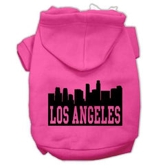 Los Angeles Skyline Screen Print Pet Hoodies Bright Pink Size Med (12)