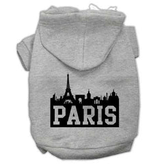 Paris Skyline Screen Print Pet Hoodies Grey Size Med (12)