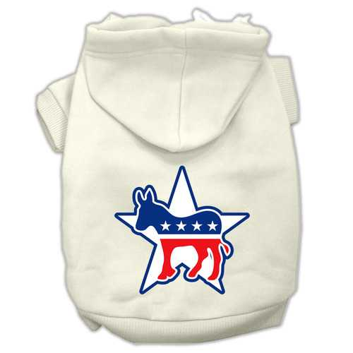 Democrat Screen Print Pet Hoodies Cream Size Lg (14)