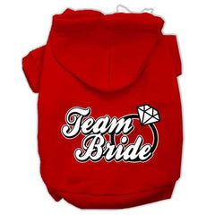 Team Bride Screen Print Pet Hoodies Red Size Sm (10)