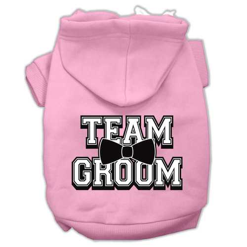 Team Groom Screen Print Pet Hoodies Light Pink Size Lg (14)