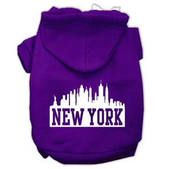 New York Skyline Screen Print Pet Hoodies Purple Size Med (12)