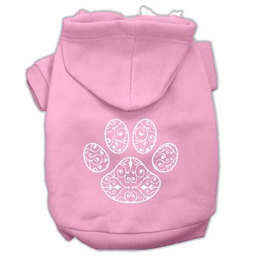 Henna Paw Screen Print Pet Hoodies Light Pink Size XL (16)