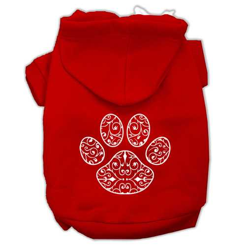 Henna Paw Screen Print Pet Hoodies Red Size XXXL (20)