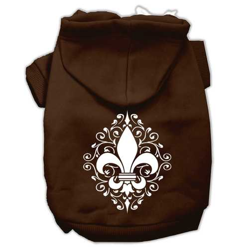 Henna Fleur de Lis Screen Print Pet Hoodies Brown Size XXXL (20)