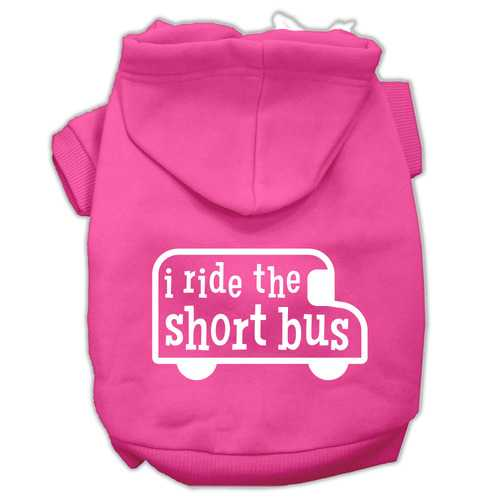 I ride the short bus Screen Print Pet Hoodies Bright Pink Size XS (8)