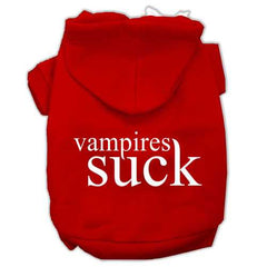 Vampires Suck Screen Print Pet Hoodies Red Size XXL (18)