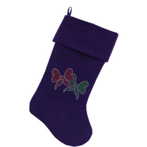 Christmas Bows Rhinestone 18 Inch Velvet Christmas Stocking Purple