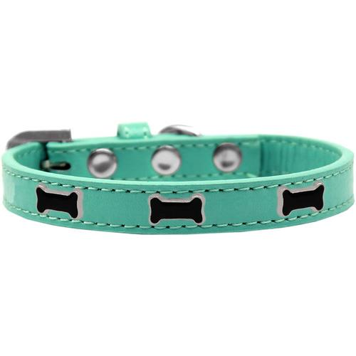 Black Bone Widget Dog Collar Aqua Size 20