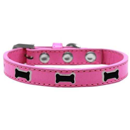 Black Bone Widget Dog Collar Bright Pink Size 12
