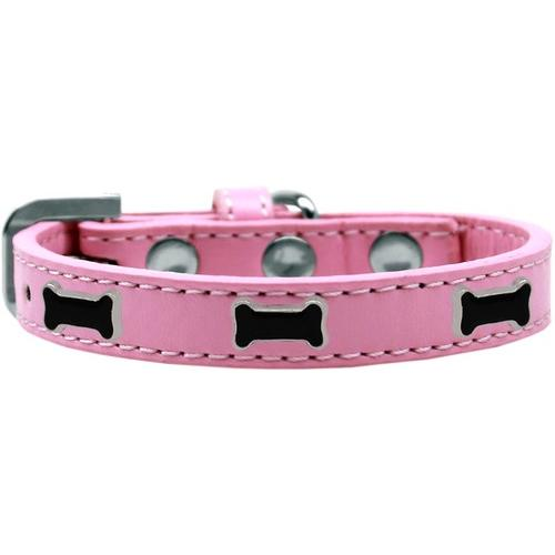 Black Bone Widget Dog Collar Light Pink Size 12