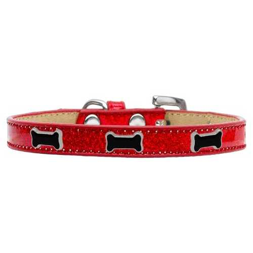 Black Bone Widget Dog Collar Red Ice Cream Size 14