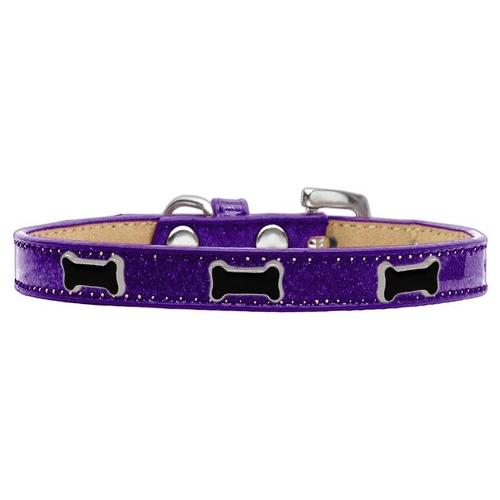 Black Bone Widget Dog Collar Purple Ice Cream Size 10