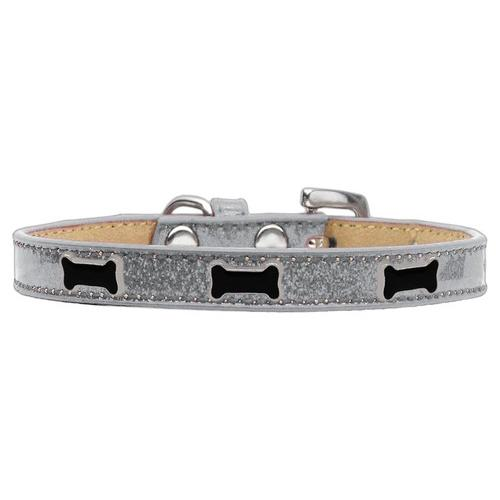 Black Bone Widget Dog Collar Silver Ice Cream Size 10