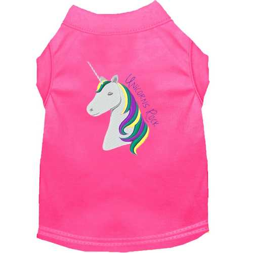 Unicorns Rock Embroidered Dog Shirt Bright Pink XXL (18)