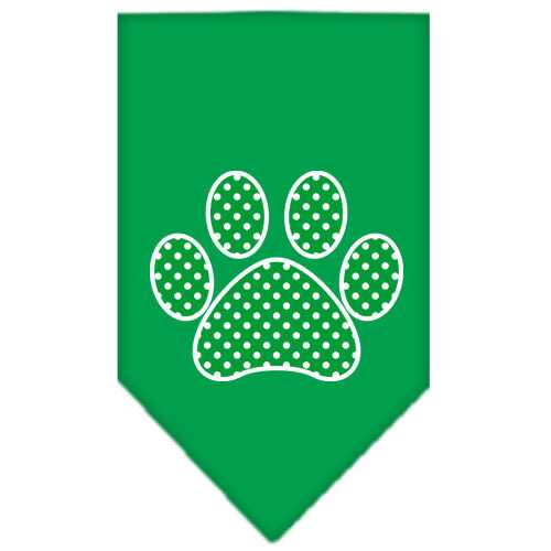 Green Swiss Dot Paw Screen Print Bandana Emerald Green Large