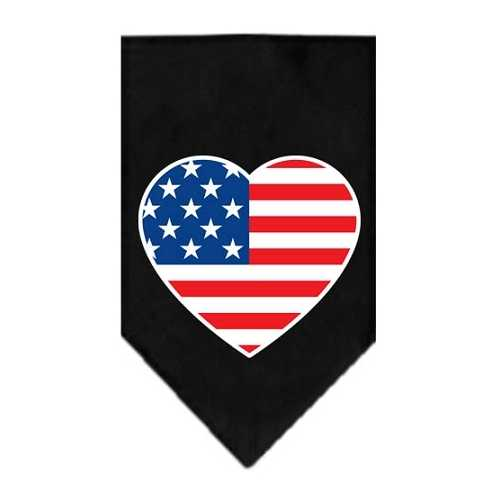 American Flag Heart Screen Print Bandana Black Large