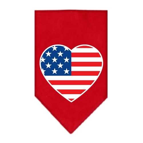 American Flag Heart Screen Print Bandana Red Large