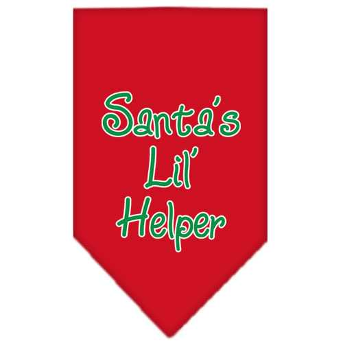Santa Lil Helper Screen Print Bandana Red Small