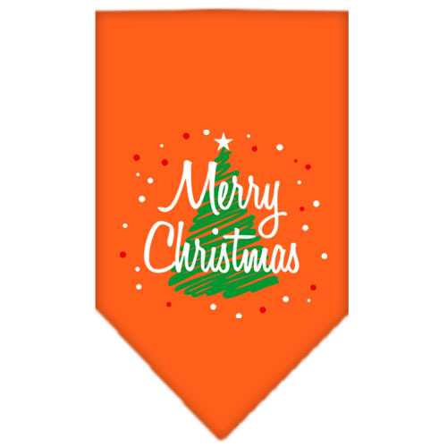 Scribble Merry Christmas Screen Print Bandana Orange Small