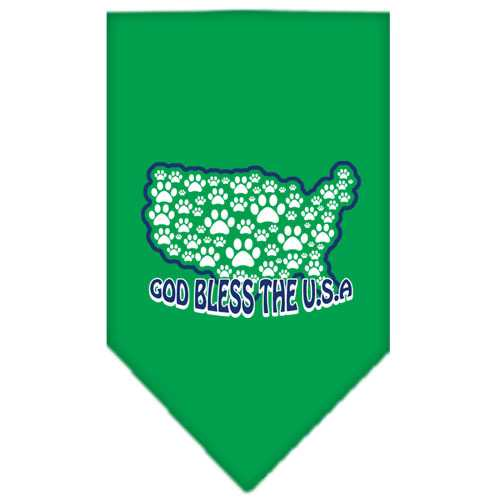 God Bless USA Screen Print Bandana Emerald Green Small