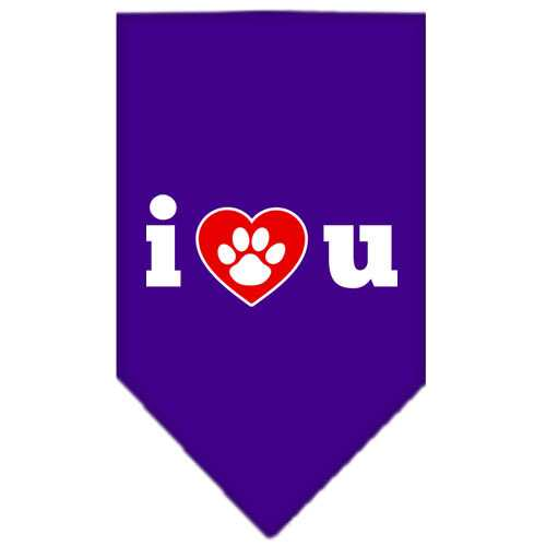 I Love U Screen Print Bandana Purple Small