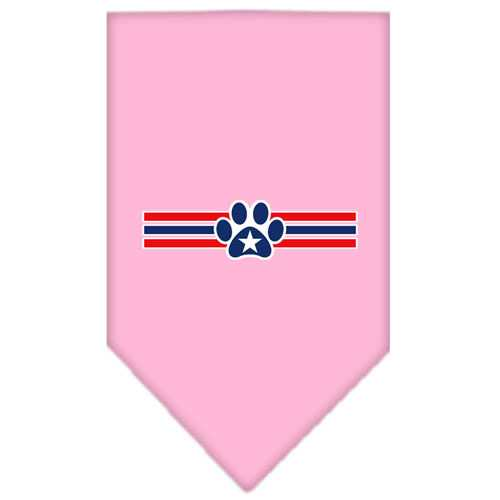 Patriotic Star Paw Screen Print Bandana Light Pink Small