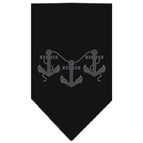 Anchors Rhinestone Bandana Black Small
