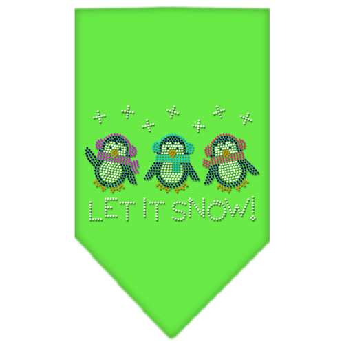 Let It Snow Penguins Rhinestone Bandana Lime Green Small
