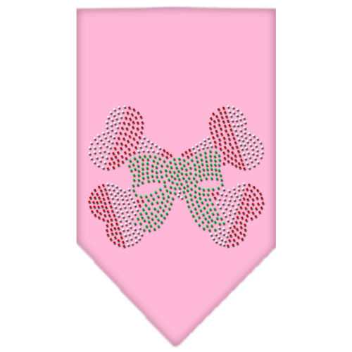 Candy Cane Crossbones Rhinestone Bandana Light Pink Small