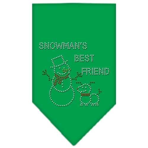 Snowman's Best Friend Rhinestone Bandana Emerald Green Small