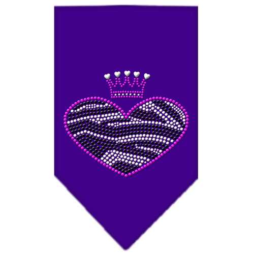 Zebra Heart Rhinestone Bandana Purple Small
