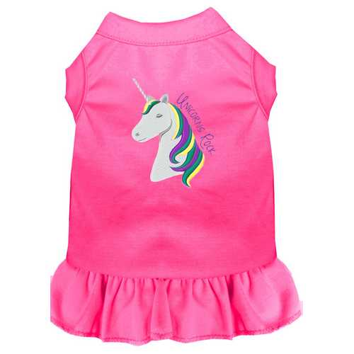 Unicorns Rock Embroidered Dog Dress Bright Pink 4X (22)