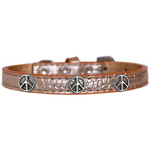 Peace Sign Widget Croc Dog Collar Copper Size 12
