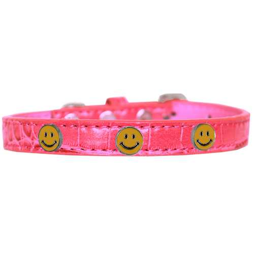 Happy Face Widget Croc Dog Collar Bright Pink Size 10