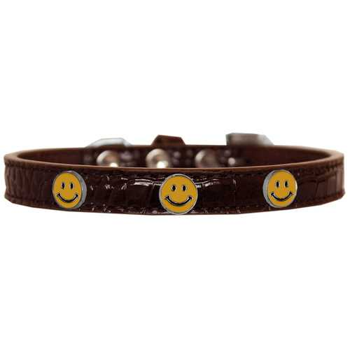 Happy Face Widget Croc Dog Collar Chocolate Size 14