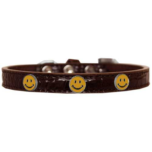 Happy Face Widget Croc Dog Collar Chocolate Size 18