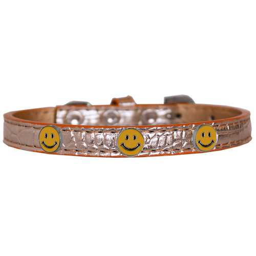 Happy Face Widget Croc Dog Collar Copper Size 16