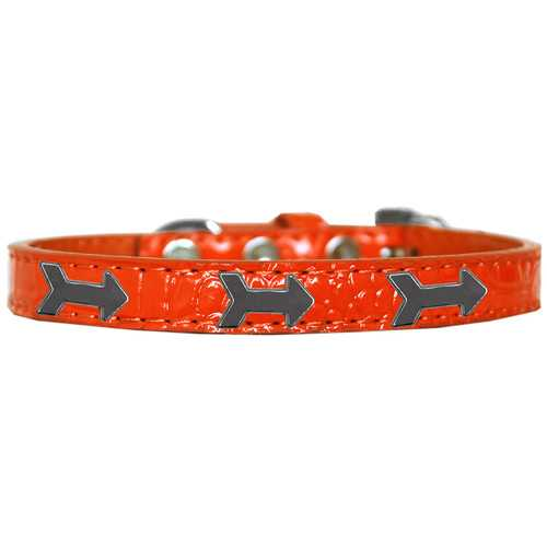Arrows Widget Croc Dog Collar Orange Size 14