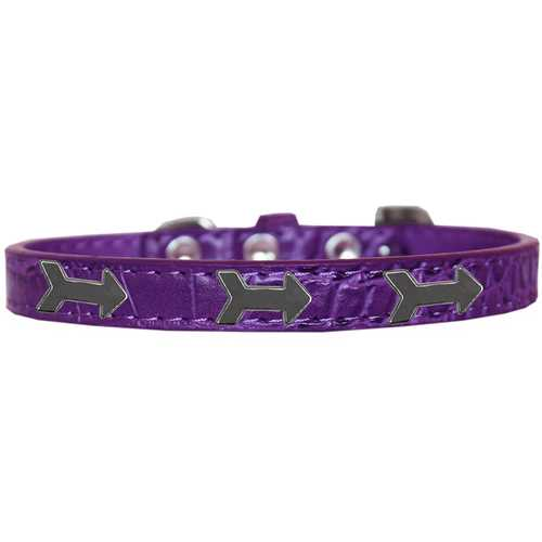 Arrows Widget Croc Dog Collar Purple Size 18