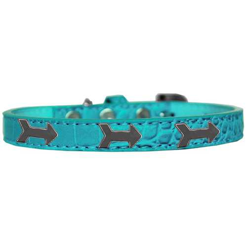 Arrows Widget Croc Dog Collar Turquoise Size 16